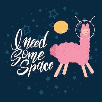 Leuke roze lama met ruimtehelmen in diepe blauwe ruimtemelkweg met sterren en het van letters voorzien
