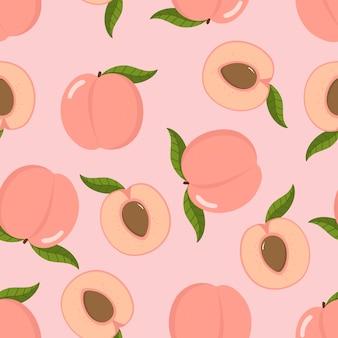 Leuke roze perzik en gesneden naadloze patten.
