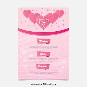 Leuke roze valentijn menusjabloon