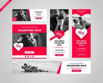 Leuke roze Valentijnsdag advertenties voor het web