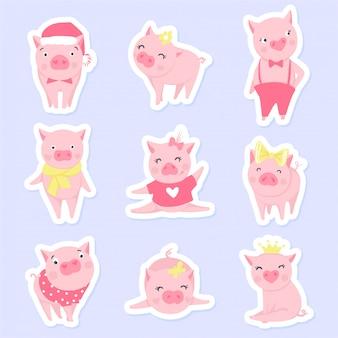 Leuke roze varkens set