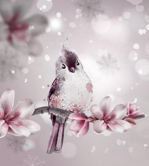 Leuke roze vogel op een tak met magnoliabloemen