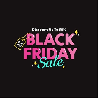 Leuke roze zwarte vrijdag banner typografie