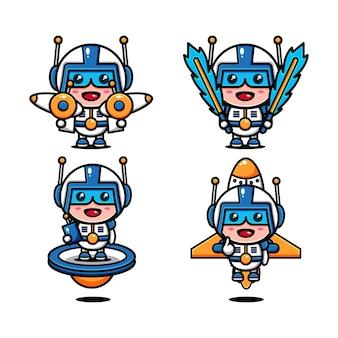 Leuke ruimtekrachten, karakterontwerp, jurk en ruimteapparatuur