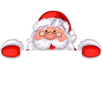 Leuke santa claus die een wit leeg uithangbord houdt