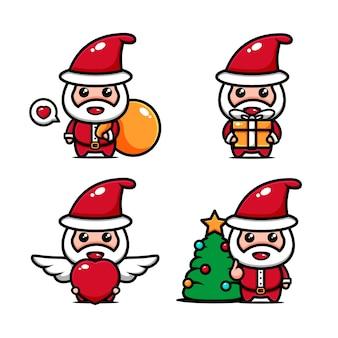 Leuke santa karakter ontwerpset