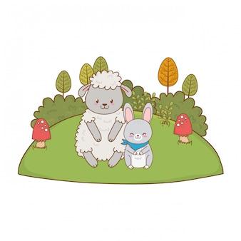 Leuke schapen en konijnen in het veld