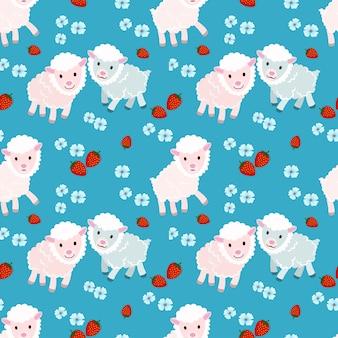 Leuke schapen op blauw naadloos patroon als achtergrond.
