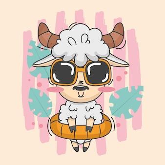 Leuke schapenillustratie met zomerjurk