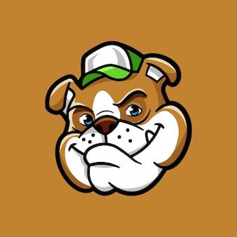 Leuke schattige bulldog gezicht cartoon vector