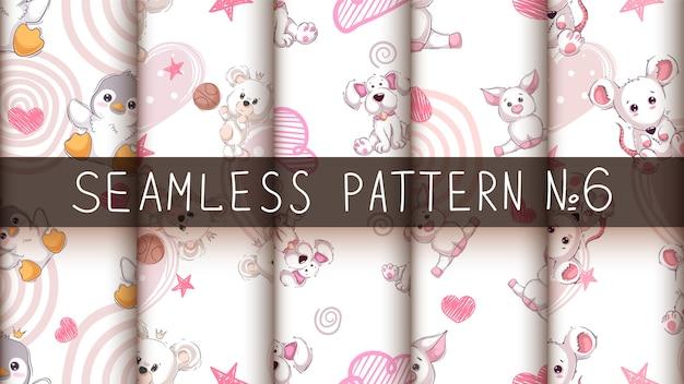 Leuke schattige dieren - naadloos patroon