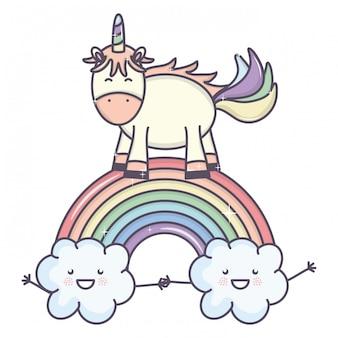 Leuke schattige eenhoorn met wolken en regenboog