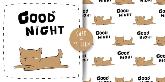 Leuke schattige hond puppy slapen cartoon doodle kaart en naadloze patroonbundel Premium Vector