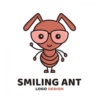 Leuke schattige lachende slimme mier in glazen. moderne stijl platte lijn karakter cartoon afbeelding pictogram logo sjabloon. geïsoleerd op wit. kind, kinderen, kind, werkmier