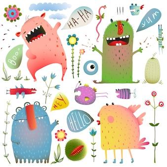 Leuke schattige monsters voor kinderen ontwerpen kleurrijke collectie met bloemen en tekstballonnen.