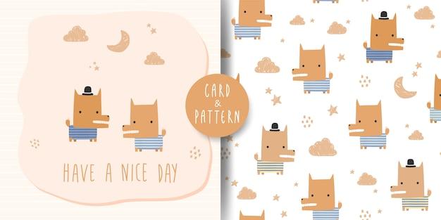 Leuke schattige vos hond cartoon doodle kaart en naadloos patroon