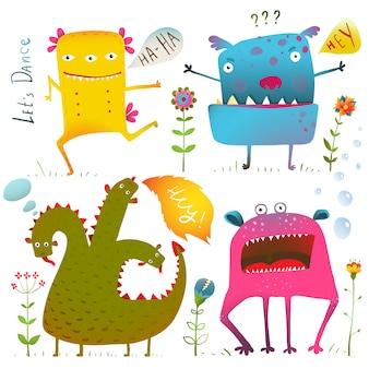 Leuke schattige vriendelijke monsters voor kinderen ontwerpen kleurrijke collectie.