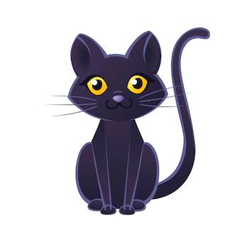 Leuke schattige zwarte kat cartoon dierlijk ontwerp platte vectorillustratie op witte achtergrond.