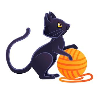Leuke schattige zwarte kat spelen met oranje bal van wol cartoon dierlijk ontwerp platte vectorillustratie op witte achtergrond.