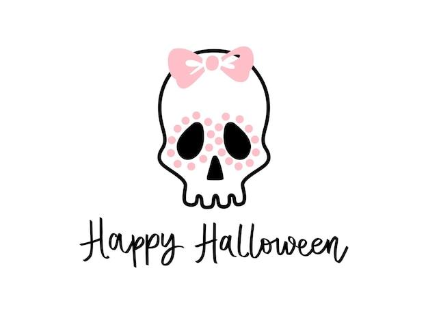 Leuke schedel met strik. gelukkig halloween-karakter. vectorillustratie geïsoleerd op wit. 31 oktober. plat ontwerp.