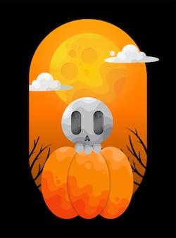 Leuke schedel op halloween-pompoen