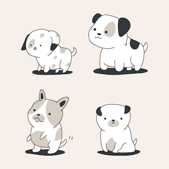 Leuke schets honden vector cartoon set geïsoleerd.