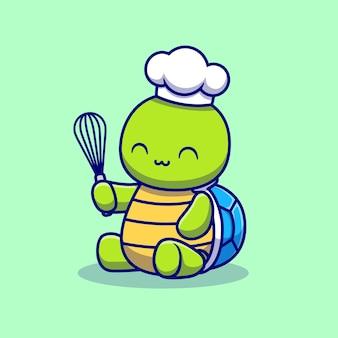 Leuke schildpad chef koken cartoon illustratie
