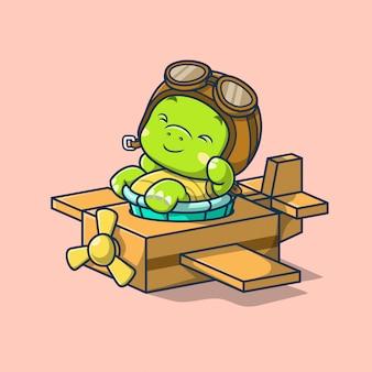 Leuke schildpad die in de illustratie van het kartonnen vliegtuig blijft