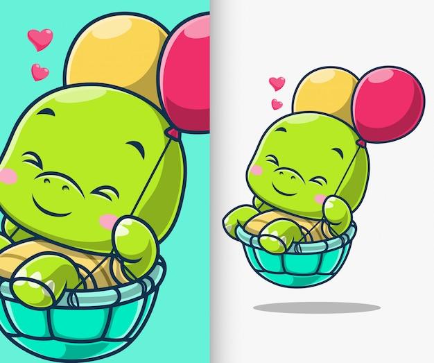 Leuke schildpad die met de illustratie van het ballonpictogram drijft. turtle mascotte stripfiguur.