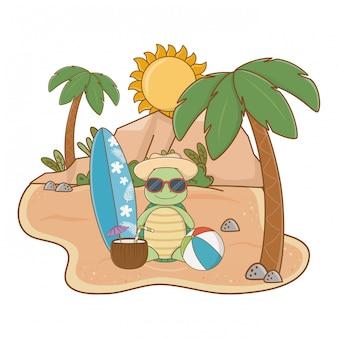 Leuke schildpad die van de zomervakanties geniet