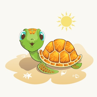 Leuke schildpadbeeldverhaal op het strand