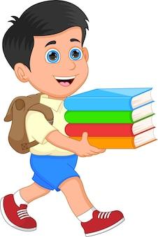 Leuke schooljongen die wat boeken draagt