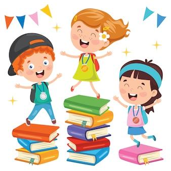 Leuke schoolkinderen en kleurrijke boeken