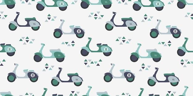 Leuke scooter cartoon naadloze patroon print oppervlakte ontwerp illustratie