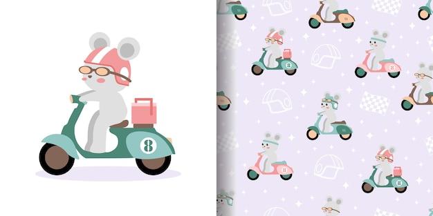 Leuke scooter race cartoon naadloze patroon print oppervlakte ontwerp illustratie