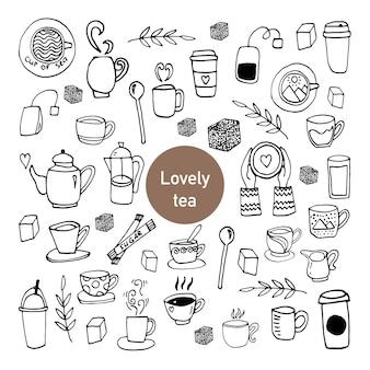 Leuke set handgetekende kopjes thee. doodle vectorillustratie.