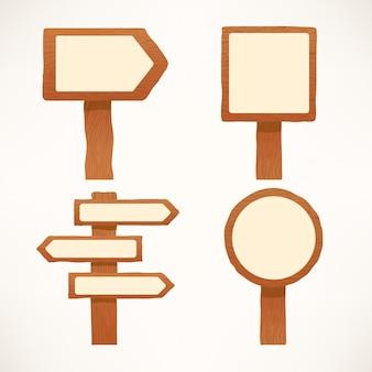 Leuke set illustraties van verschillende gevormde houten uithangborden