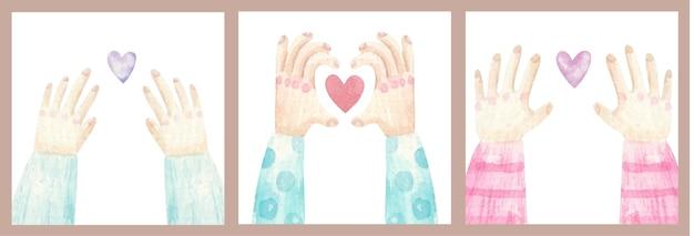 Leuke set kaarten voor geliefden, handen met een hart, hart in handen, illustratie
