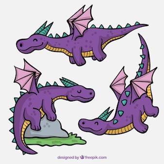 Leuke set met hand getekende draken karakters