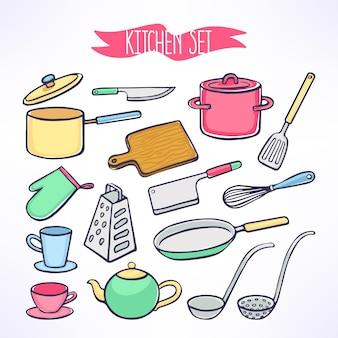 Leuke set met keukengerei. pannen, messen, pollepel. handgetekende illustratie