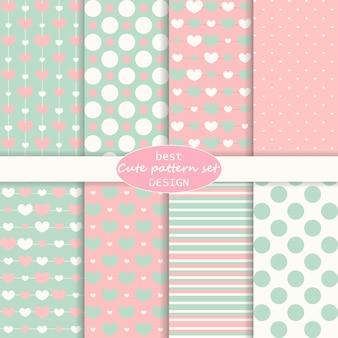 Leuke set. polka dot, strepen, hartenpatroon. retro stijl. pastelkleuren.