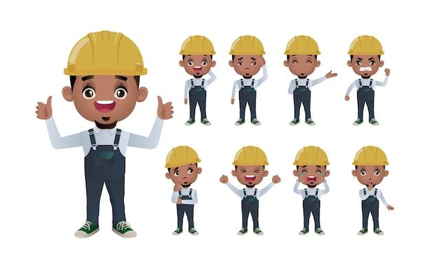 Leuke set set van werknemer met verschillende emotie