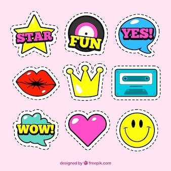 Leuke set stickers met komische stijl