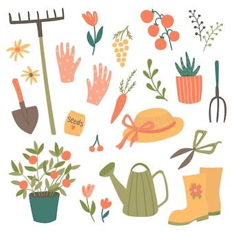 Leuke set tuinartikelen, illustratie van tuingereedschap en elementen: schop, hooivork, planten, gieter, planten, tuinhandschoenen, hoed, laarzen.