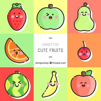 Leuke set van fruit personages met grote uitdrukkingen