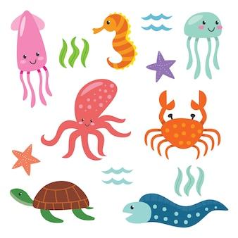 Leuke set van het oceaan dierlijk beeldverhaal
