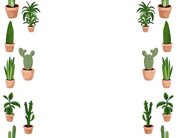 Leuke set van hygge ingemaakte succulente planten naadloze patroon.