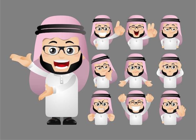 Leuke set van islamitische man geïsoleerd op grijs