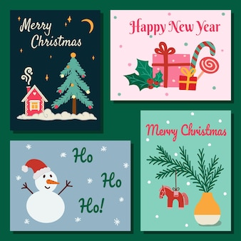 Leuke set van kerstmis en gelukkig nieuwjaar wenskaart. peperkoekhuis, kerstboom, geschenkdozen, sneeuwpop, zweeds dalahorse, trendy retrostijl. handgetekende vectorillustratie. plat ontwerp.