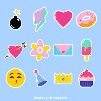 Leuke set van kleurrijke stickers